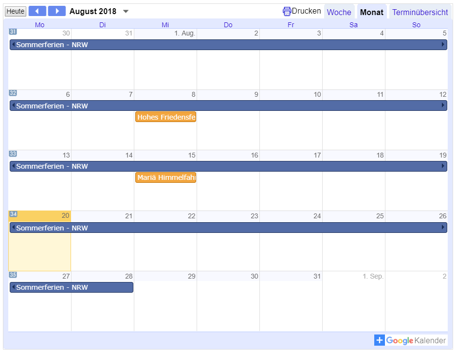 [Kalender öffnen]